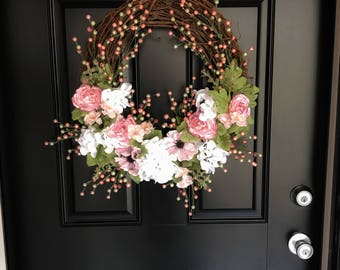 Everyday Wreath, Year Round Wreath, Front Door Wreath, Grapevine Wreath, Spring Wreath, Summer Wreath, Mother's Day Gift, Housewarming Gift