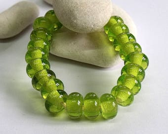 Lime Ice, Lampwork Spacer Beads, SRA, UK