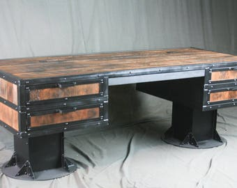 reclaimed wood office desk. Vintage Industrial Wooden Desk With Drawers. Reclaimed Wood Storage. Urban Style Office U