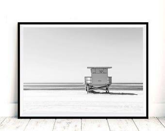 Lifeguard Print, Summer Prints, Ocean Beach, Lifeguard Tower, Beach Printable, California Beach, Santa Monica, Lifeguard Art, Newport Beach