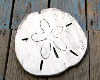 Wooden Sand Dollar Decor Beach House Decor Sea Shell Decor Wood Sand Dollar Sign Coastal Decor Shabby Chic