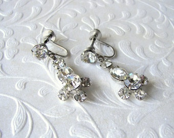 Rhinestone Dangle Screw Back Earrings Vintage Costume Jewelry Wedding Bridal Formal Prom Pageant Ballroom Bohemian Chic Great Gatsby Bride