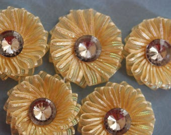 scrapbooking yellow organza Ribbon flower