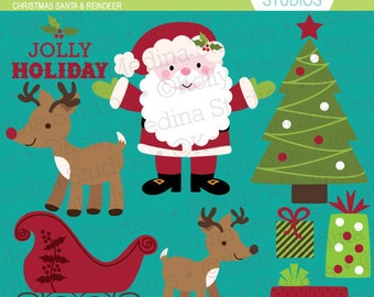 Christmas Santa and Reindeer Clip Art - Digital Elements Commercial use for Cards, Stationery and Paper Crafts and Products