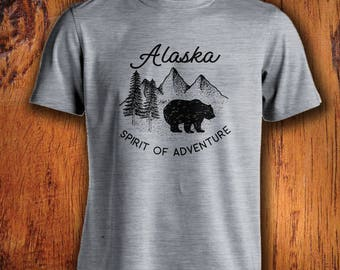 Men's Tshirt Alaska Shirt Alaska State shirt bear shirt Alaska bear shirt Alaskan shirt mens alaska tee  Alaska adventure shirt