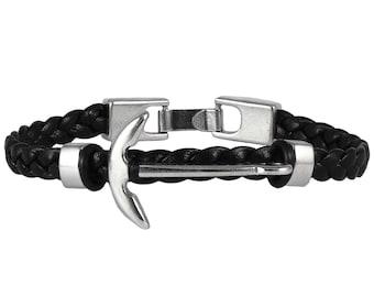 Anchor Bracelet, Mens Bracelet, Men Bracelet, Leather bracelet, Nautical Bracelet, Braided Bracelet