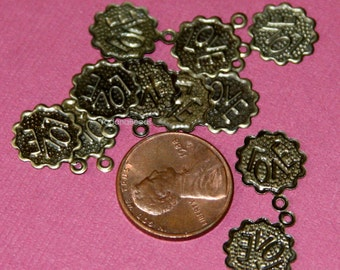 50 pcs pf antique brass LOVE coin drops 12mm