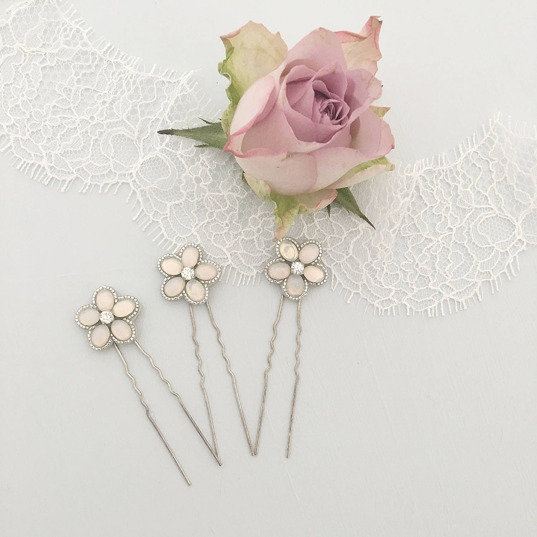 Opal silver flower wedding hair pins flower wedding hair zoom izmirmasajfo Image collections