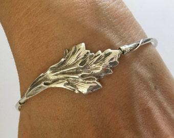 Leaf silver bracelet, Silver Leaf Bracelet, Large Leaf Bracelet, Sterling Silver Leaf, Leaf Bangle, sterling silver bracelet, silver bangel,