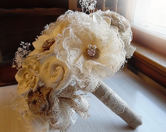 Rustic Lace Flower Shabby Chic Bridal Bouquet with Burlap Roses, Sola Flowers, Rhinestones and Pearls.