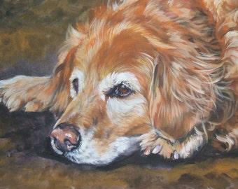 Golden Retriever dog art portrait CANVAS print of LA Shepard painting 8x10