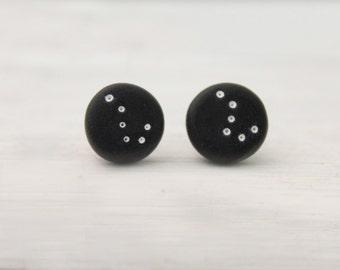galaxy big dipper earrings, polymer clay jewelry, stud earrings