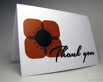 Box of 10 Geometric Poppy Thank You cards
