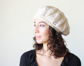 Slouchy knit hat for women in beige color