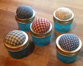 Jar Pin Cushion with Pins