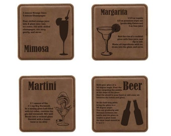 Coaster Set- Mixed Drink Recipes (Dark Brown Leatherette)