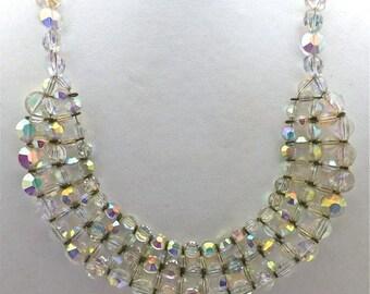 Aurora Borealis Crystal Woven Necklace
