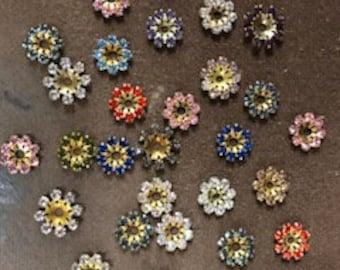 30pcs Asst Rhinestone Jackets, asst colors, 10mm Round, Raw Brass