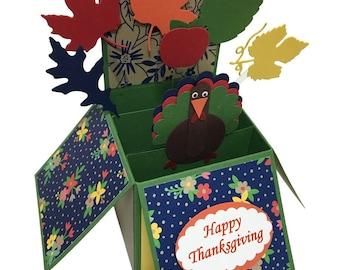 Happy Thanksgiving Card in a Box, Thank You 3d pop up card, Cute Turkey card, Gratitude Card, Gobble till you Wobble