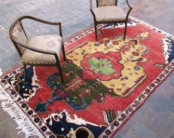 Oriental Rug, Rugs Turkish Rug, Vintage Rug, Area Rug, Knotted Rug, Wool Rug, Handmade Rug, Rustic Rug,