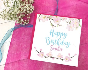 Personalised Cherry Blossom Card - Cherry Blossom Card - Cherry Blossom Greetings Card - Birthday Card for Mum - Mothers Day - Birthday