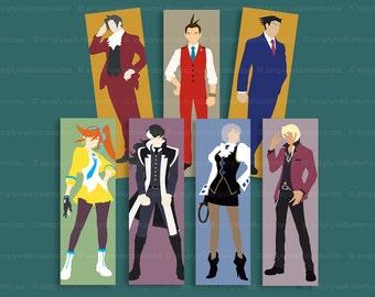 Ace Attorney Bookmark – Phoenix Wright – Miles Edgeworth – Apollo Justice – Simon Blackquill – Klavier – Franziska Von Karma – Athena Cykes