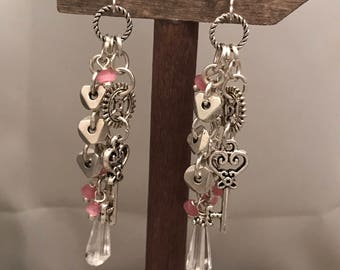 Key and gear steampunk pink  cluster earrings