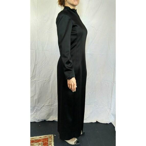 Vintage Black Satin Art Deco Qipao style Donna Karan Maxi-dress Made in USA