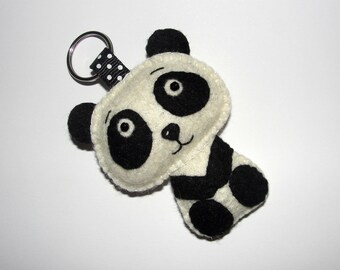Cute Wool Felt Panda Keychain, Felt Panda Bear, Keyring, Key Holder, Birthday, Gift Bag, Bag Charm, Decor, Hand Embroidered, Felt Animal