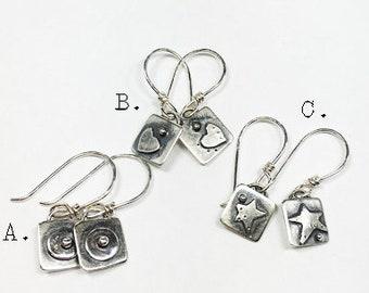 Tiny silver earrings,small earings,silver,sterling sterling earrings,maggiesmeltdown Maggie's Meltdown,square earrings,drops,dangles