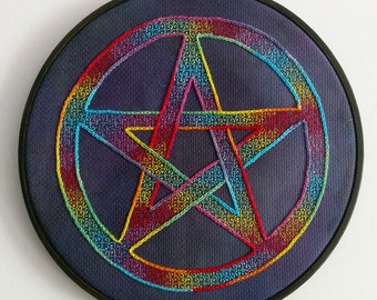 Rainbow Pentacle Blackwork Cross-stitch