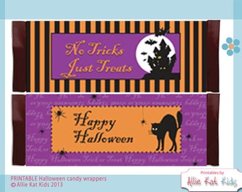 "Halloween Candy Bar Wraps ""Haunted House"" ""Black Cat"" PRINTABLE Candy Bar Wraps"