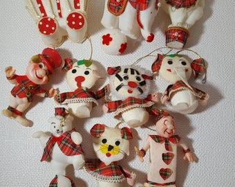 Vintage Plaid Circus-Themed Christmas Ornaments - Set of 10