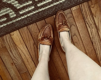 80s Woven Loafers Slip On Casual Basketweave Genuine Leather Women's 8 1/2 or Euro 39