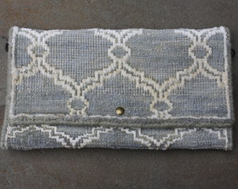 Tapestry Clutch - Pale Green and Cream Scroll Design