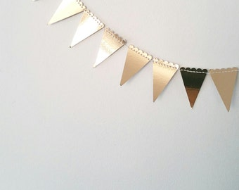 Gold Mini Scalloped Paper Garland - Bunting, Kids Decor,