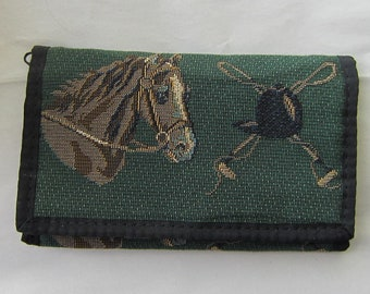 Tapestry Fabric HORSE HEADS on Green Equestrian Horse Ladies Wallet/Checkbook made in USA....choose style
