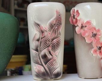 Royal Copley Vase Pink and Gray Leaf Design VINTAGE  by Plantdreaming