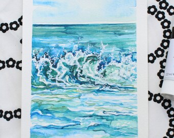 """High Tide - 5""""x7"""" Original Watercolor and Acrylic Painting"""