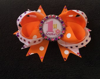 First Birthday Stacked Hair Bow