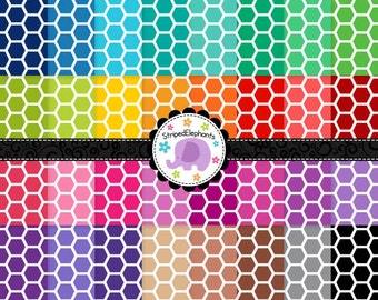 Honeycomb Digital Papers 1, Hexagon Digital Scrapbook Paper, Geometric Digital Backgrounds, Instant Download, Commercial Use