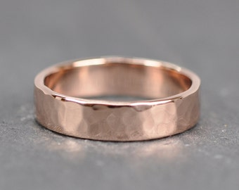 Rose Gold Mens Wedding Band 14K 5mm Wide Ring Hammered Gold