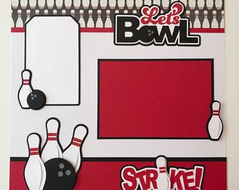 "Premade Handmade ""Bowling"" Scrapbook Page, Bowling, Bowling Ball, Bowling Pins, Scrapbook Layout"