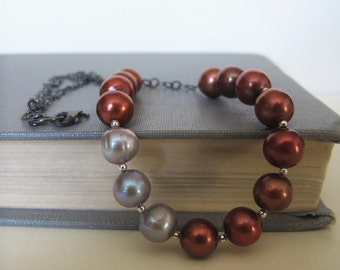 Brown Pearl Necklace, Grey Pearl Necklace, Silver Chain, Chain Necklace, Silver Necklace, Oxidized Silver, Handmade Jewelry