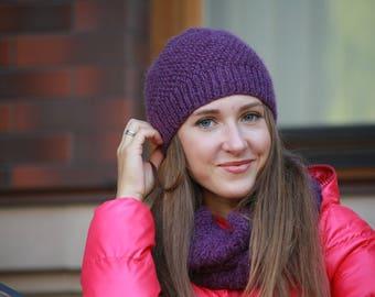 Woman Knit Hat, Wool Hat, Women Knit Hat, Winter Hat, Beanie Hat for Women, Purple Hat, Hand Knit Hat
