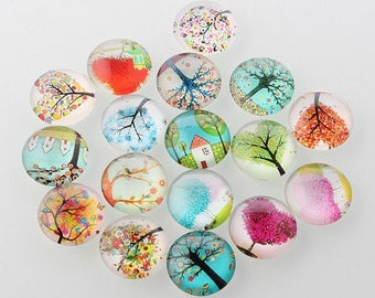 SET OF 10 CLEAR THEME TREE NEW FLAT ROUND GLASS CABOCHONS
