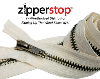 32 inch Wholesale YKK #5 Antique Brass Separating Zippers Color #841 Snow white~ZipperStop Wholesale Authorized Distributor YKK®