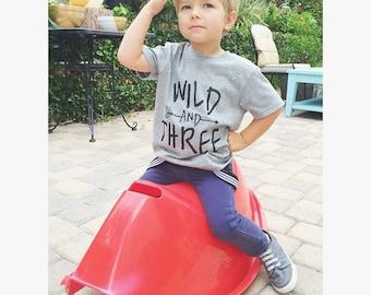 Wild and Three Shirt // Toddler Birthday Tshirt, 3 year old birthday shirts, Third Birthday, Threenager, Wild and three tshirt, Wild and 3