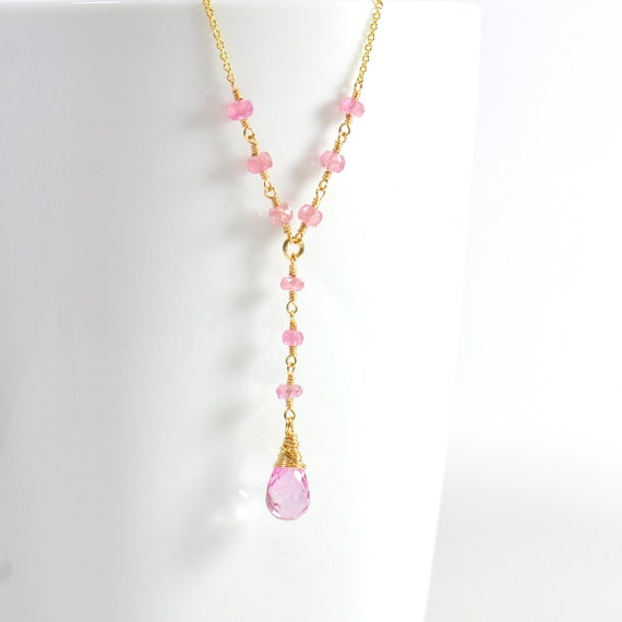 Pink Tourmaline & Pink Topaz Necklace, Mothers day Gift, October Birthstone Jewelry, October Birthday, Wife Gift, Pink Tourmaline Necklace