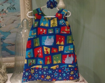 Dr. Seuss, Cat In The Hat Dress, Character Blocks (girl, infant, child) - with matching hair accessory